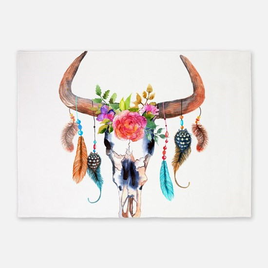 Colorful Bull Horns & Skull Flowers 5'x7'Area Rug