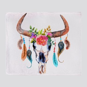 Colorful Bull Horns & Skull Flowers Throw Blanket