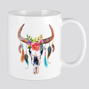 Colorful Bull Horns & Skull Flowers & Feather Mugs