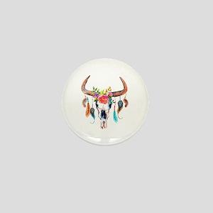 Colorful Bull Horns & Skull Flowers & Mini Button