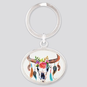Colorful Bull Horns & Skull Flowers & Fe Keychains