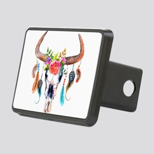 Colorful Bull Horns & Skul Rectangular Hitch Cover
