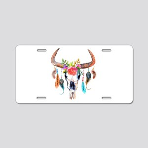 Colorful Bull Horns & Skull Aluminum License Plate