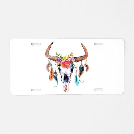 Colorful Bull Horns & Skull Aluminum License Plate