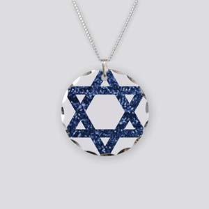 sequin star of david Necklace Circle Charm