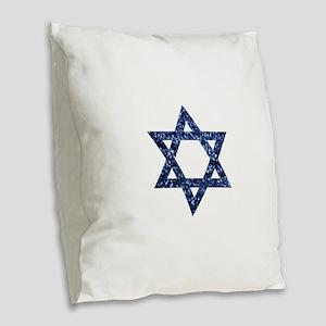 sequin star of david Burlap Throw Pillow