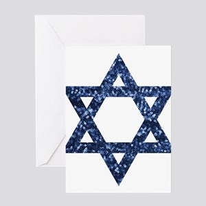 sequin star of david Greeting Cards