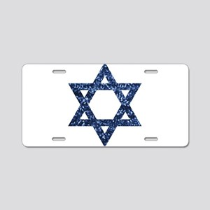 sequin star of david Aluminum License Plate