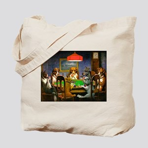 Dogs Playing Poker Tote Bag