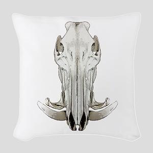 Hog skull Woven Throw Pillow