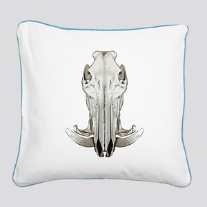 Hog skull Square Canvas Pillow
