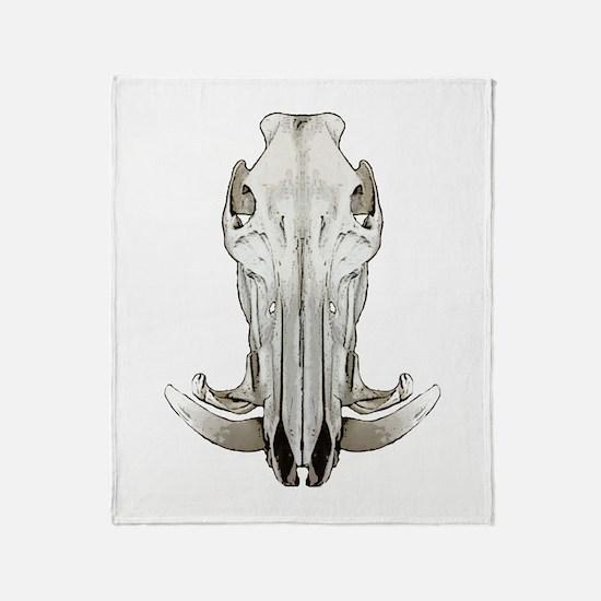 Hog skull Throw Blanket