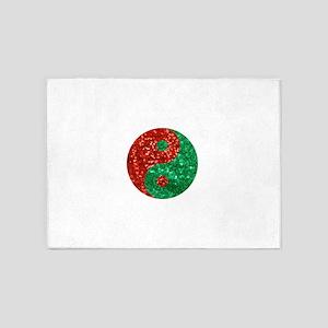 sequin yin yang christmas 5'x7'Area Rug