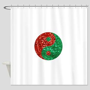 sequin yin yang christmas Shower Curtain