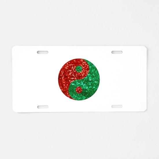 sequin yin yang christmas Aluminum License Plate