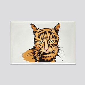 Realistic Orange Striped Tabby Cat Rectangle Magne
