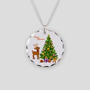 Shinny Christmas Necklace Circle Charm