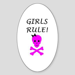 GIRLS RULE Oval Sticker