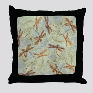 Dragonfly Dance Gold Throw Pillow