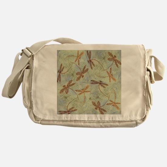 Dragonfly Dance Gold Messenger Bag
