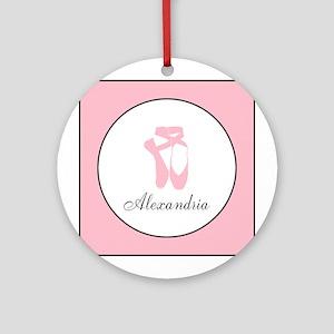 Team Pointe Pink Monogram Round Ornament