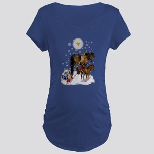 Christmas Mare and Colt Maternity Dark T-Shirt