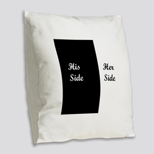 His Side: Her Side Burlap Throw Pillow