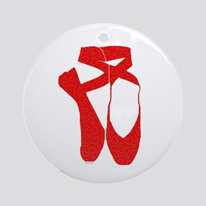 Team Pointe Ballet Hearts Round Ornament