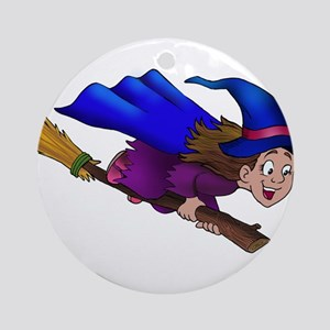 young girl Witch Round Ornament