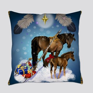 Christmas Mare and Colt Everyday Pillow