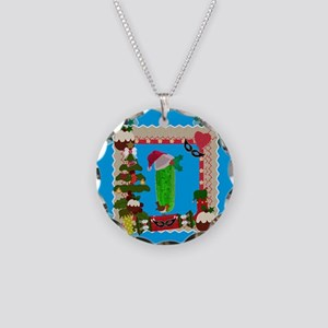 ugly christmas pickle Necklace Circle Charm