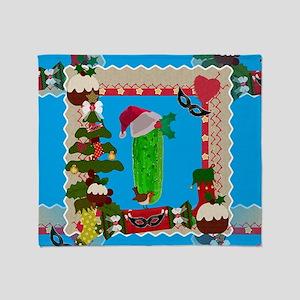 ugly christmas pickle Throw Blanket