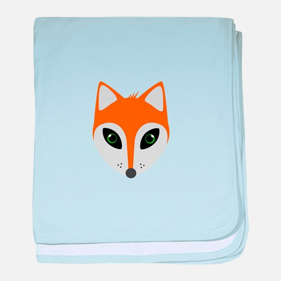 Fox with green eyes baby blanket