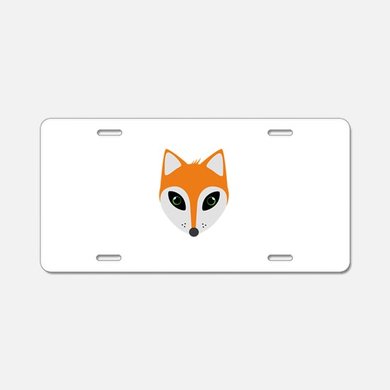 Fox with green eyes Aluminum License Plate