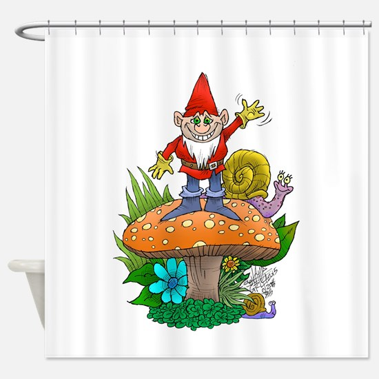 Waving gnome. Shower Curtain