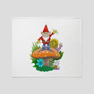 Waving gnome. Throw Blanket
