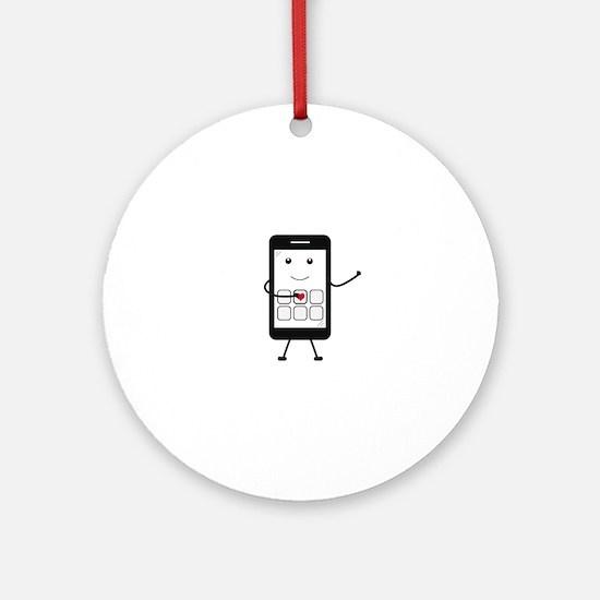 Friendly Smartphone Round Ornament