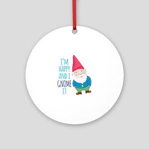 Happy Gnome Round Ornament