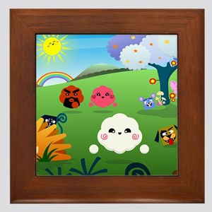 Happy Colorful Planet 01 Framed Tile
