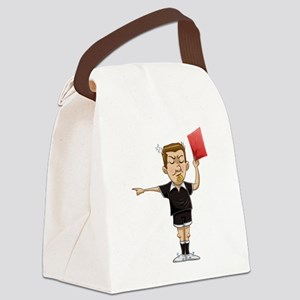 Soccer Referee Holds Red Card Canvas Lunch Bag