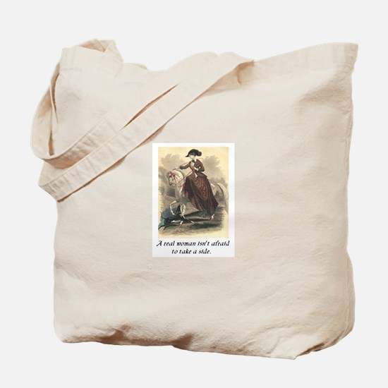 A real woman - sidesaddle.JPG Tote Bag