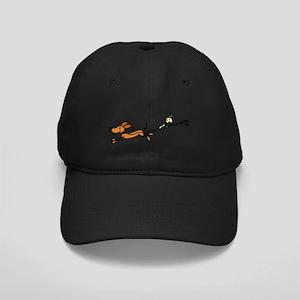Funny Dog Walking Cartoon Black Cap