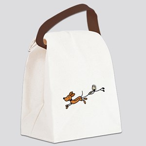 Funny Dog Walking Cartoon Canvas Lunch Bag