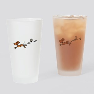 Funny Dog Walking Cartoon Drinking Glass