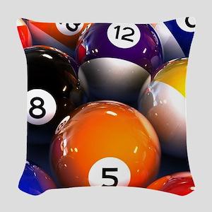 Billiard Balls Woven Throw Pillow