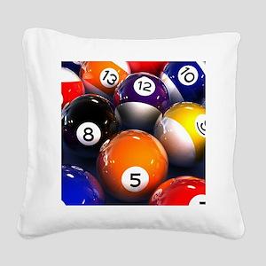 Billiard Balls Square Canvas Pillow