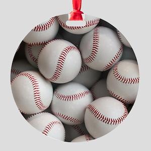 Baseball Balls Round Ornament