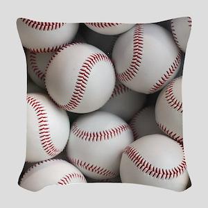 Baseball Balls Woven Throw Pillow
