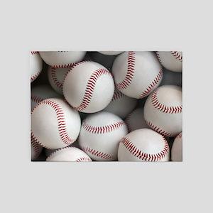 Baseball Balls 5'x7'Area Rug