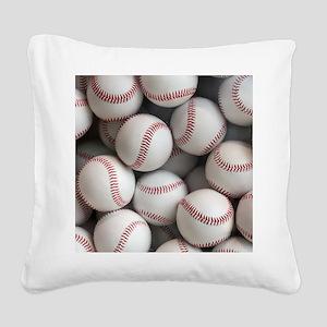 Baseball Balls Square Canvas Pillow